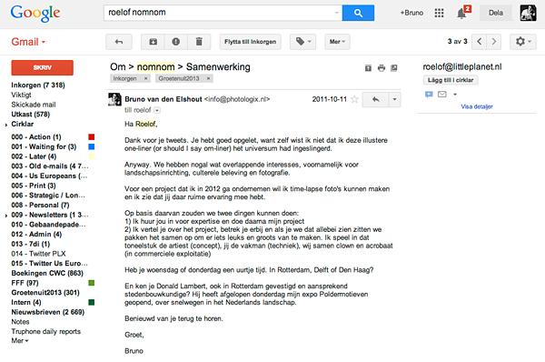 Mail aan Roelof na toevallige kennismaking op Twitter