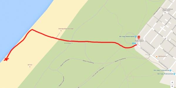 Looproute vanaf eindpunt lijn 12